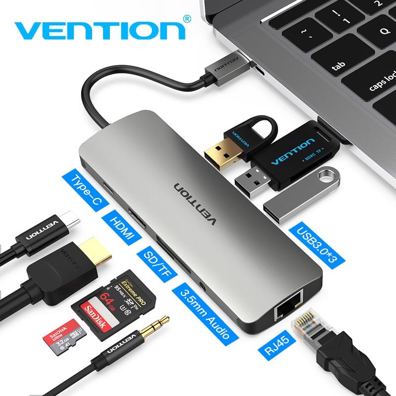 Vention Thunderbolt 3 Dock USB Hub Type C إلى HDMI USB3.0 RJ45 محول ، لأجهزة MacBook ، Samsung Dex S8/S9 ، Huawei P30 Pro ، usb c
