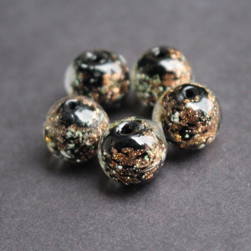 10 pçs/lote 10mm 12mm Contas de Vidro Lampwork Vidro Luminous Beads Cor Preta Com Brilhos de Areia para colar brinco fazendo