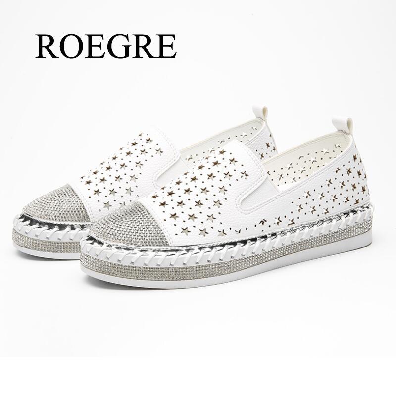 Design da marca Borla Pequenos Sapatos Brancos Mulheres Crystal Studs Mocassins Alpercatas Plataforma Ladies Shoes Eur 34-43 de Tricô Feitos À Mão