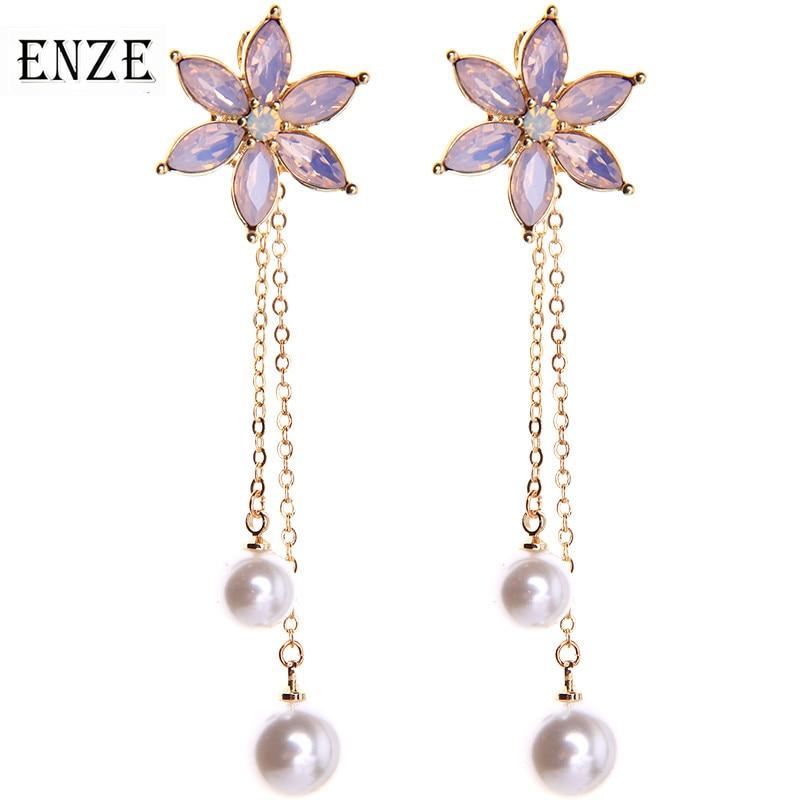 ENZE moda señoras joyería Popular nuevo blanco imitación perla largo borla pendientes para mujeres verde claro azul flores