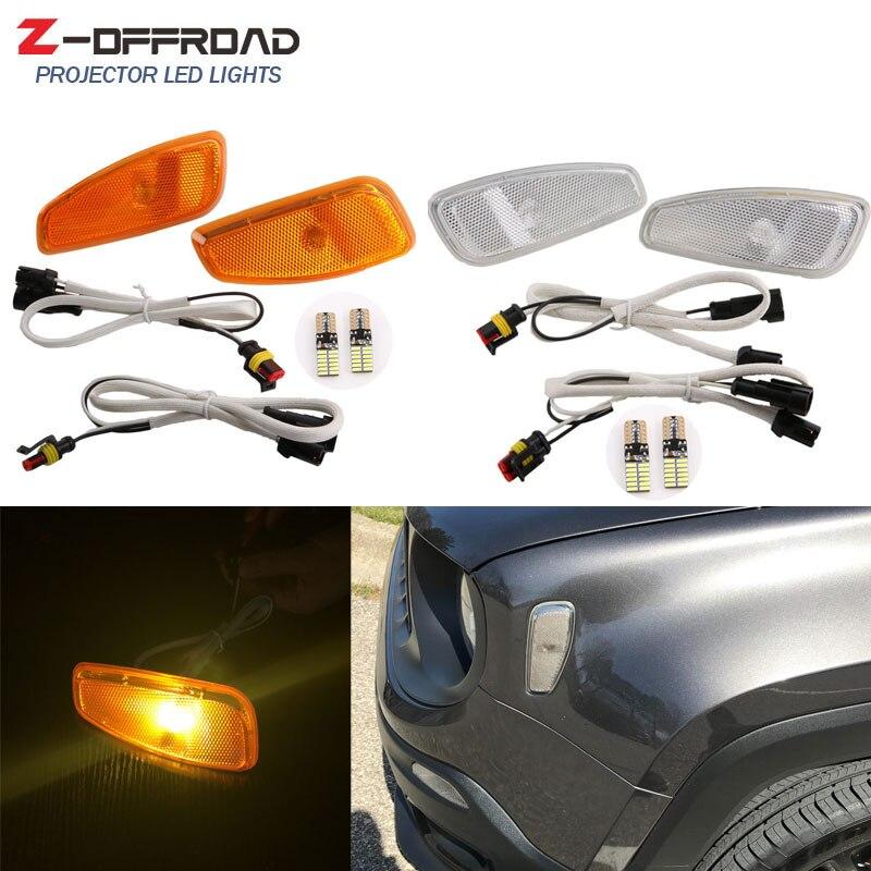 Señal de luz de cabeza lámpara lateral para jeep renegado lateral reflexión WarningTurn señal de luz de la lámpara no polaridad T10 bombillas LED