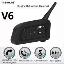 IP65 V6 Multi Motorcycle Intercom Intercomunicador 1200 Meter Helmet Speaker Bluetooth Headset for 6 Riders Interphone MP3 GPS