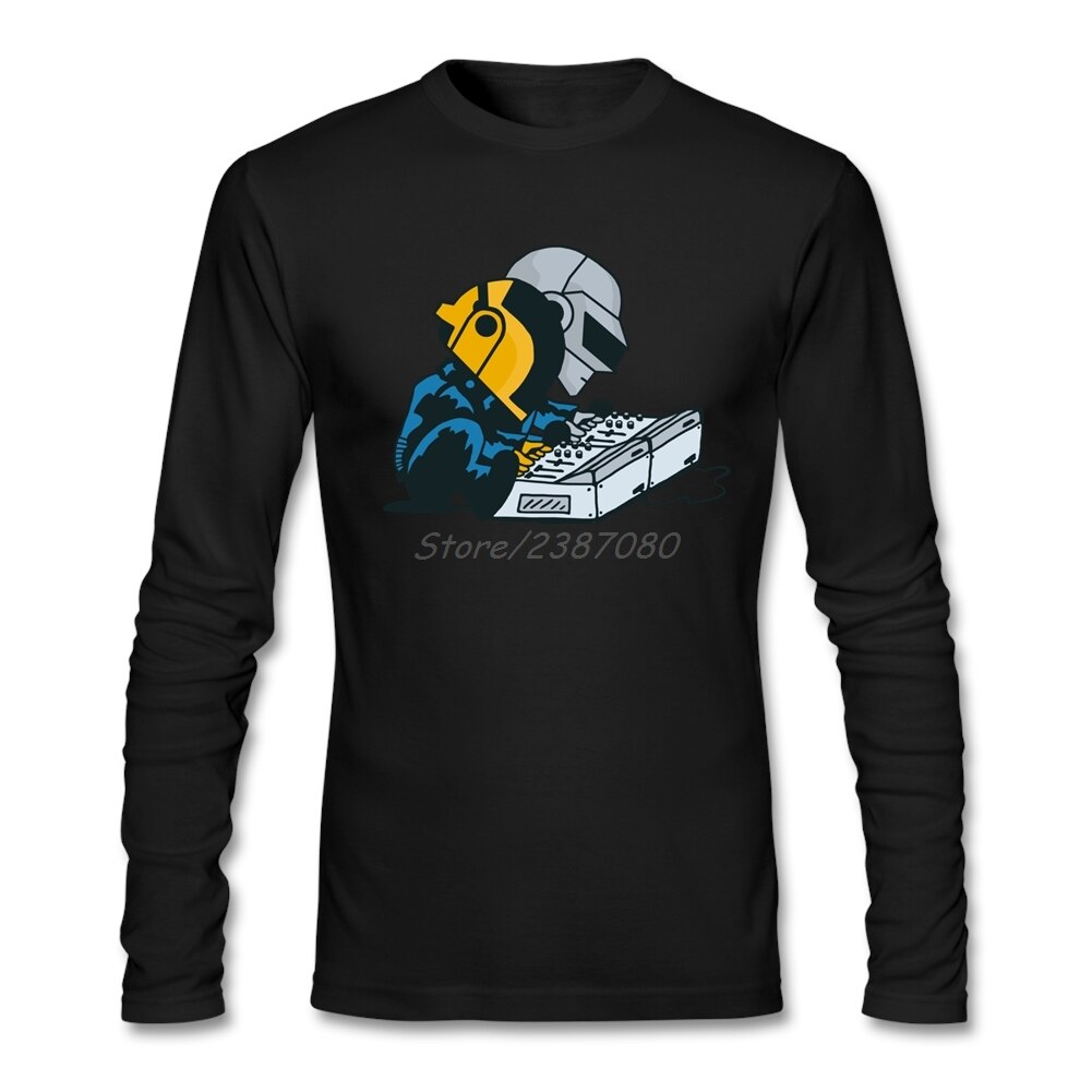 Camiseta de manga larga Daft Nuts Daft Punk, camiseta Pop divertida de algodón con cuello redondo para hombres