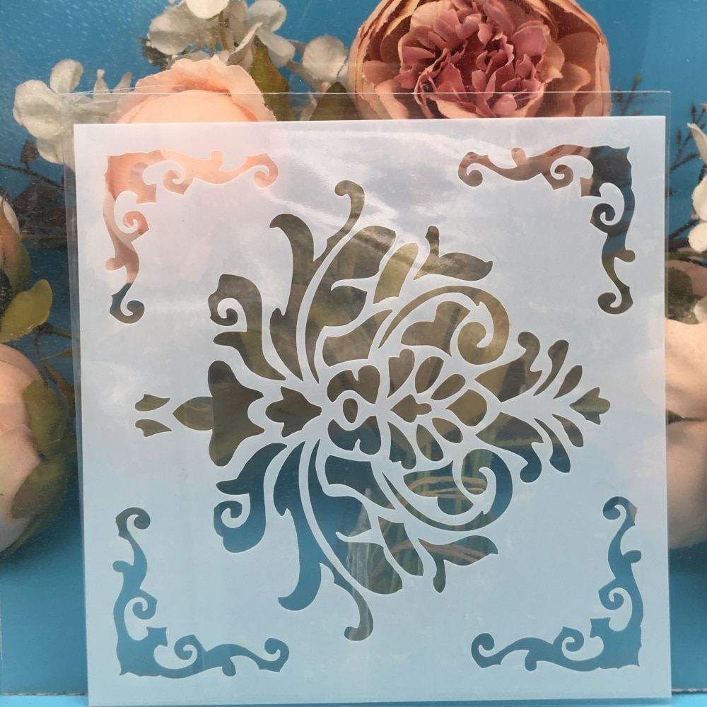 """5,9 """"Marco de flores DIY artesanía capas plantillas pintura de pared álbum de recortes estampado gofrado de álbumes y tarjetas de papel plantilla F5345"""