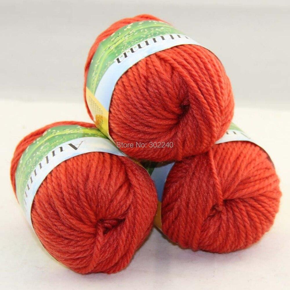 LOT of 3 BallsX50g Chunky Hand-woven Coarse Knitting Yarn Orange 225