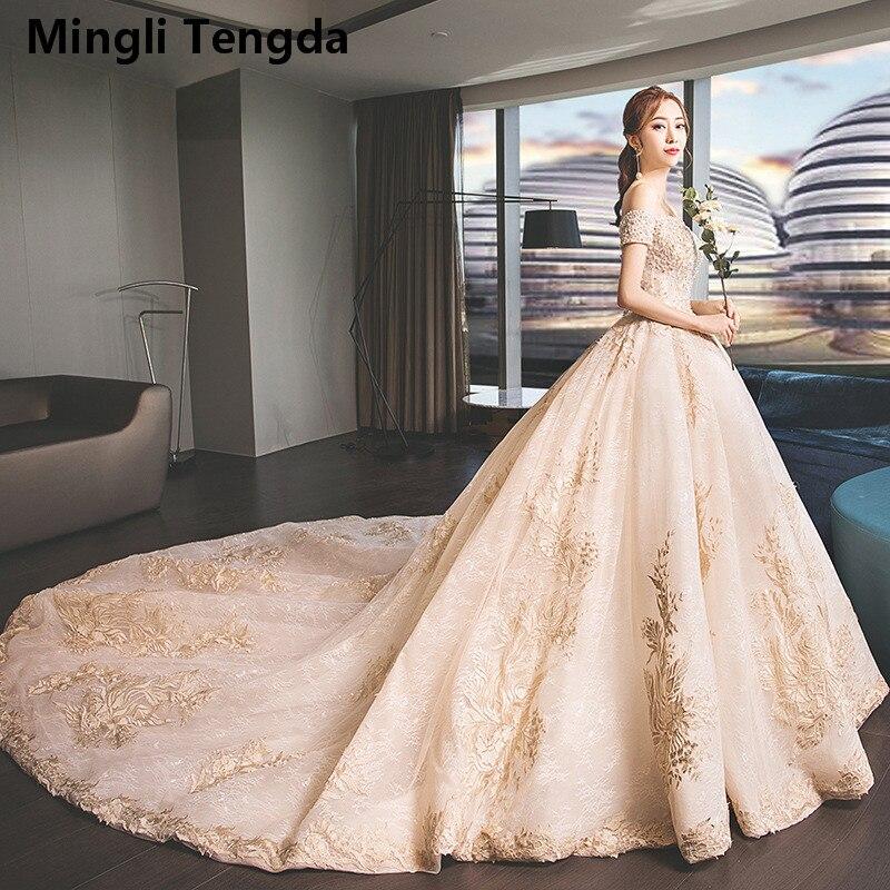 Mingli Tengda vestidos de novia champán llena de encaje vestido de novia cola real vestido de novia corto de perlas manga vestido nupcial Trouwjurk
