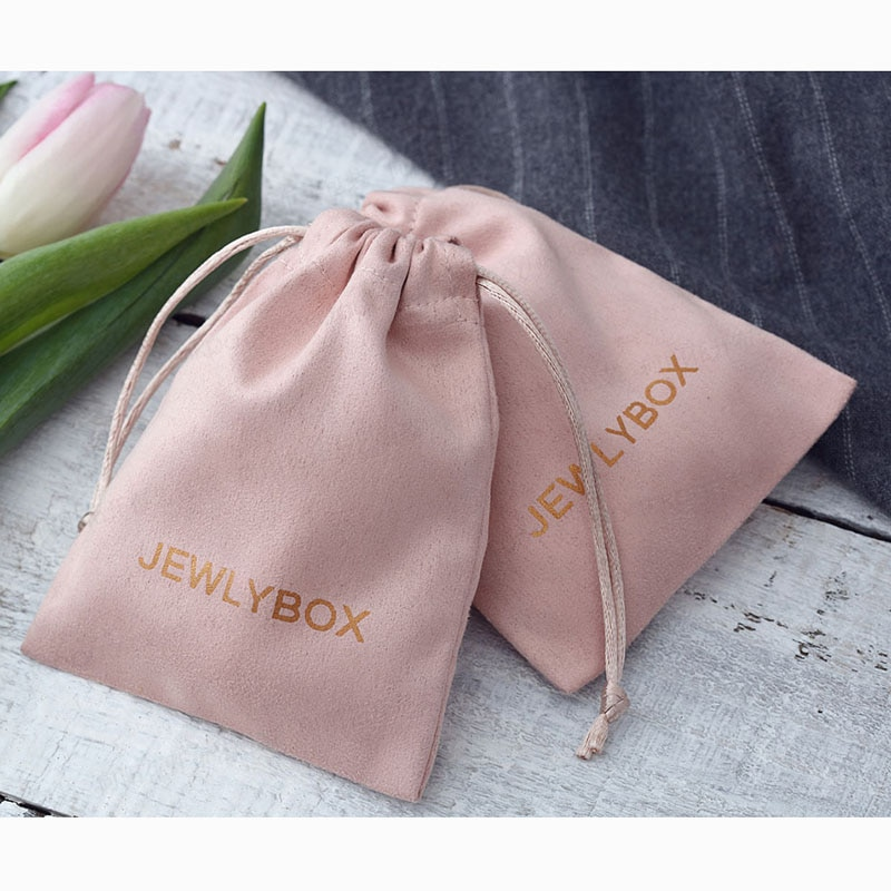 100 Personalized Logo Print Drawstring Bags Custom Jewelry Packaging Pouches Chic Wedding Favor Bags