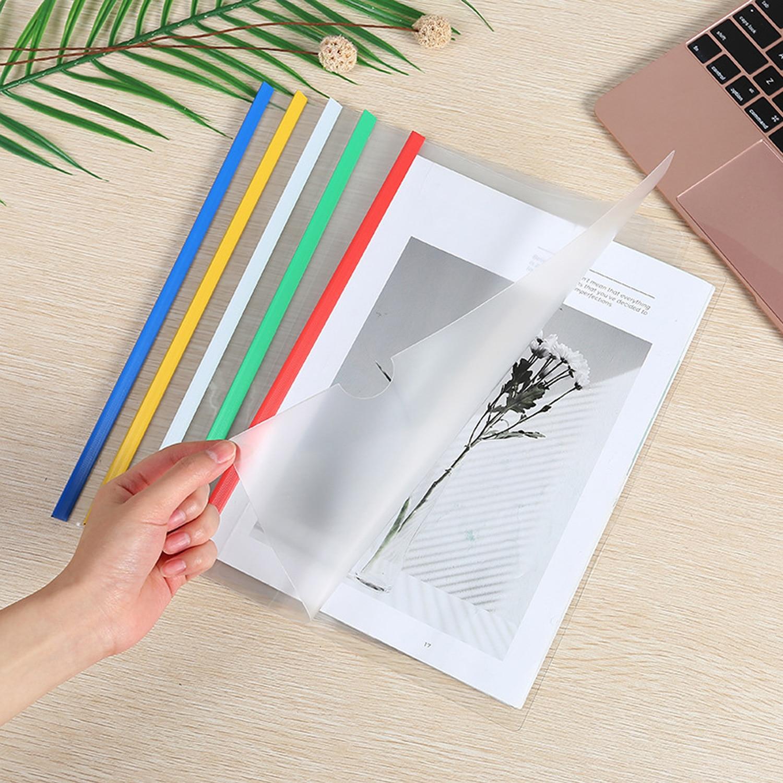 10 PCS A4 Größe Klar Kunststoff Papier Datei Buch Dokument Ordner Schiebe Bar Bericht Deckt für Display Organizer Binder Schule büro