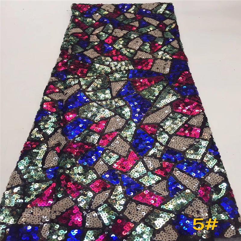 Tejido de encaje de alta calidad a la moda tejido de encaje de Organza 2019 telas de encaje africano con lentejuelas para vestido de fiesta JX2496B