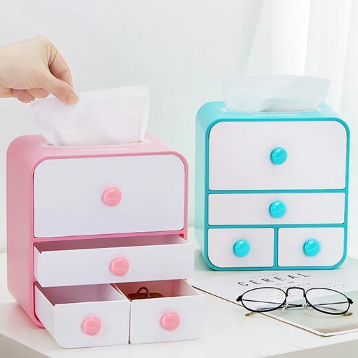 Drawer - type Jewelry Storage Box Cosmetics Organizer Office Desk Sundries Tissue Box