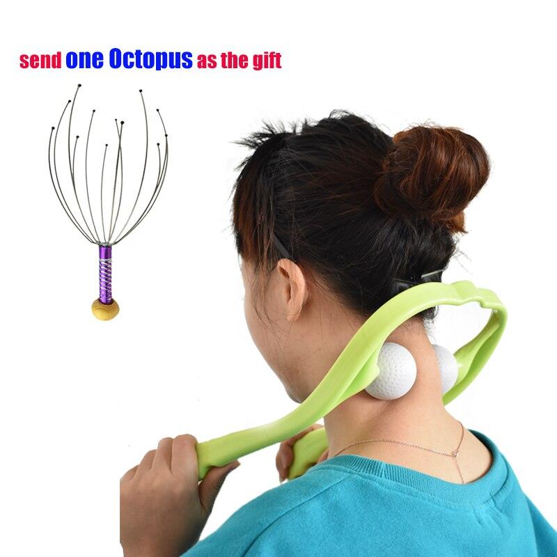 Masajeador de pulpo de masaje de cuello de hombro terapéutico de doble punto de disparo de masaje de espalda rodillo Manual de masaje cervical