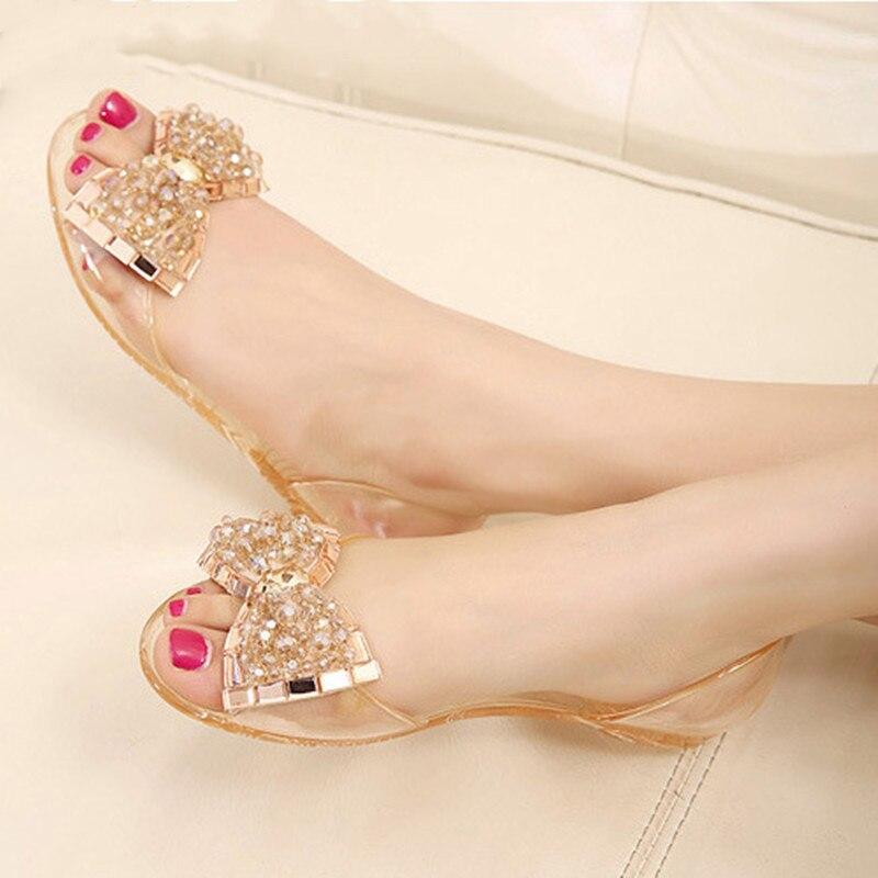 ¡Novedad de 2019! Sandalias de mujer, zapatos de jalea estilo pajarita ostentosa de verano, sandalias casuales para mujer, calzado de punta abierta, zapatos planos de cristal, talla 35-40 E768