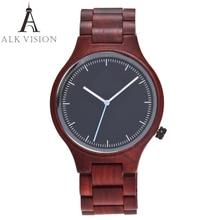 Alk visão de topo marca designer masculino e feminino relógio de madeira sandália vermelha quartzo relógios moda casual relógio relogio masculino