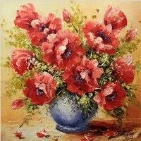 Pates de fleurs bricolage mosaique diamant   Peinture en diamant  point de croix 5D broderie diamant  Vase de fleur rouge  decoration de maison