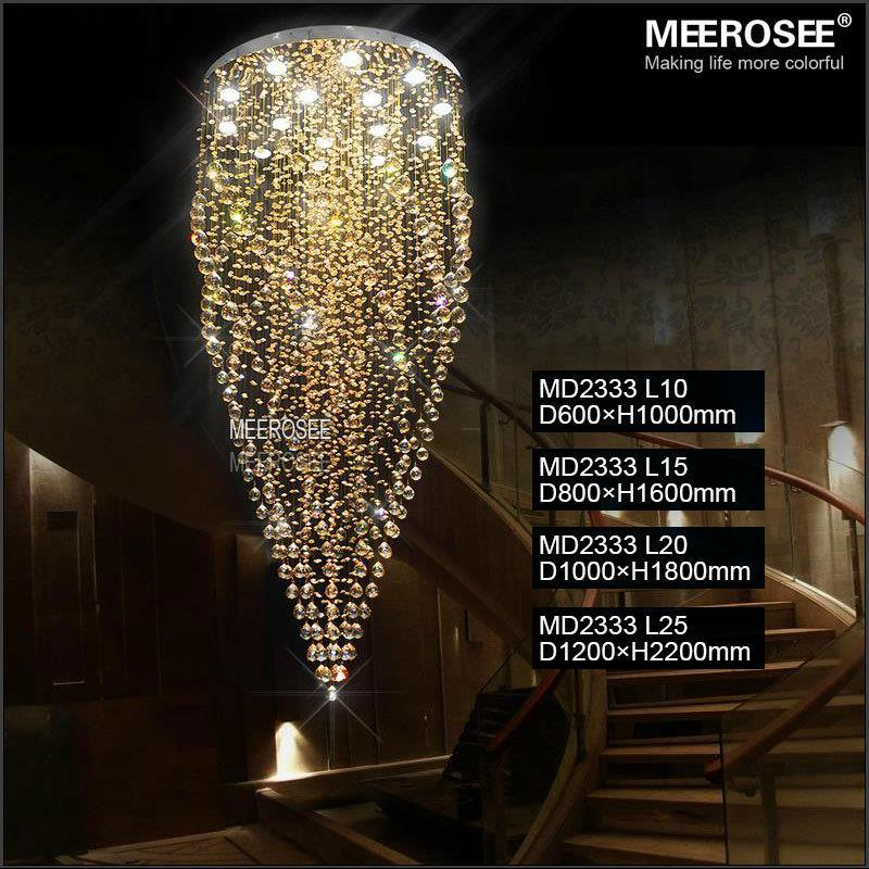 Large Crystal Ceiling Lights Fixture Amber Crystal Light lustre de cristal Lamp for Stair, Staircase with GU10 bulbs Dia 800mm  - buy with discount