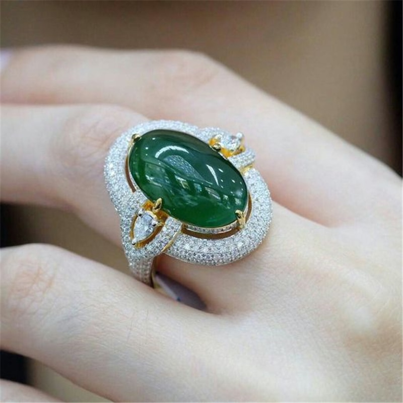 Moda verde escuro anel de pedra ouro branco cristal anéis para mulheres casamento anel de noivado jóias presente dos namorados l5x299