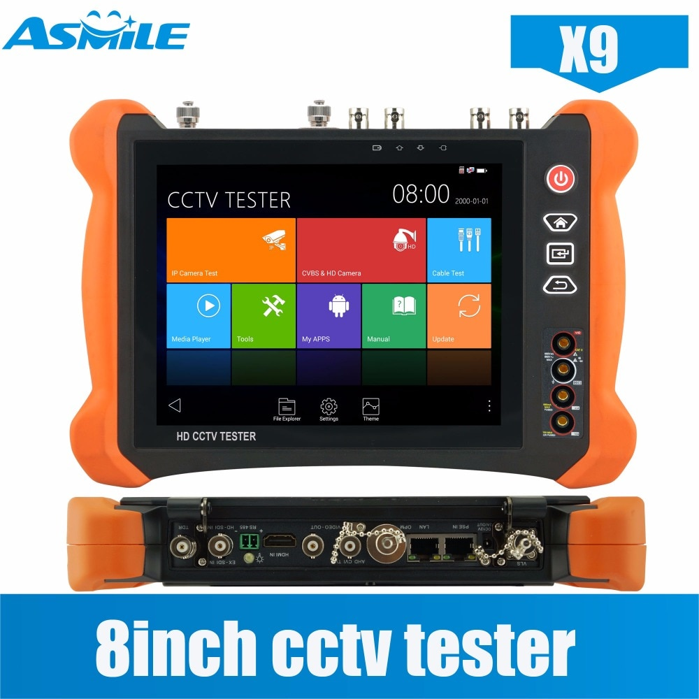 X9 series 8-inch fullest function cctv camera tester with ONVIF 4 channels testing,2048*1536 resolution with cctv camera system