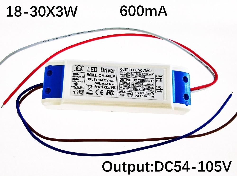 Envío Gratis 40W 50W 60W LED conductor 18-30x3W 600mA DC54-105V fuente de alimentación LED de alta potencia