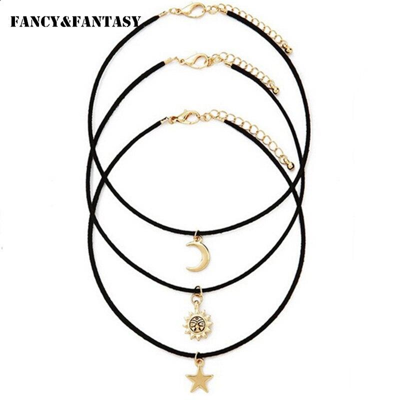 3 unids/set gótico collar gargantilla mujeres gótico estrella, Luna, Sol colgante collar negro de cuero de la PU de collar de cadena de Collier Collares
