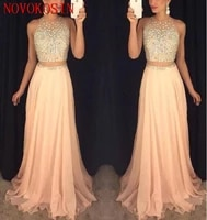 2019 sexy prom dresses jewel neck yellow peach chiffon long crystal beads sheer waist open back 2 piece party dress evening gown