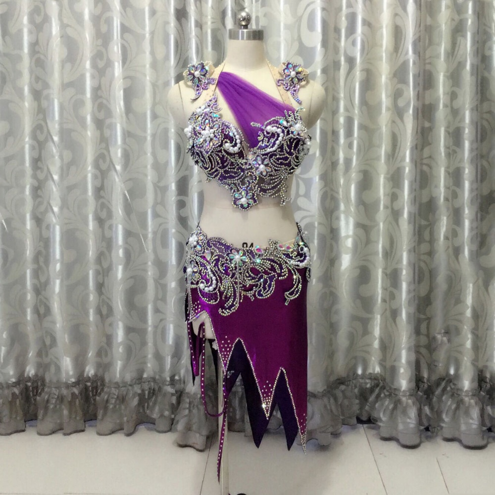 Performance Belly Dance Clothes Hand Made Bra Top+Short Skirt 2pcs Belly Dance Suit Purple Set Girls Ballroom Dance Costumes