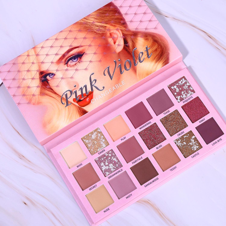 Marca cambiable paleta de sombras de ojos Nude Kit de maquillaje 18 colores mate brillo presionado sombra de ojos polvo pigmentado impermeable