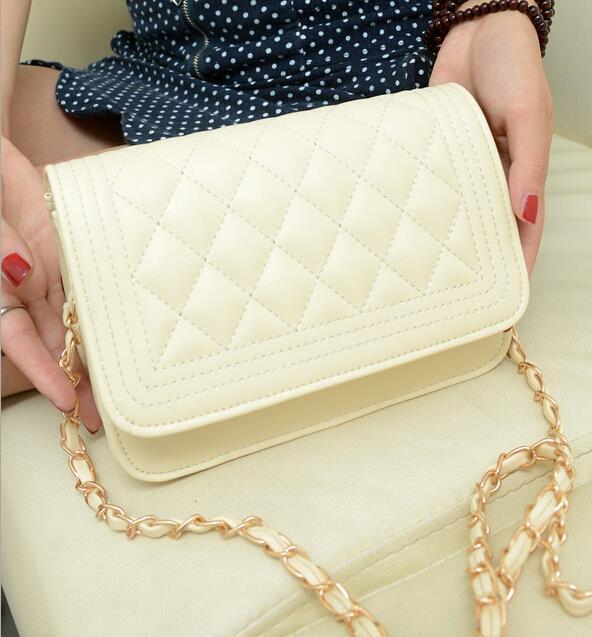 Lozenge Fashion handbags High quality PU leather Women bag Sweet girl chain small square package Lattice shoulder Female bag