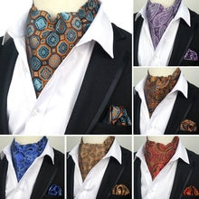 YISHLINE Vintage 100% Silk Men's Ascot Cravat Tie & Handkerchief  Set Floral Paisley Pocket Square Tie Sets For Wedding Party