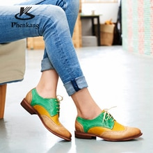 Yinzo femmes chaussures plates Oxford chaussures femme en cuir véritable baskets dames Brogues Vintage chaussures décontractées chaussures pour femmes