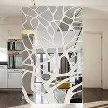 Autocollants muraux miroir 3d amovibles   Bricolage, décoration murale de fond de TV, chambre à coucher en arbre, autocollant acrylique, pâte de miroir