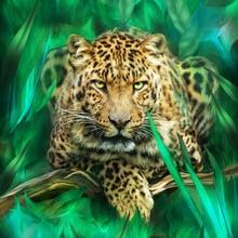 "New Full Diamond 5D DIY Diamond Painting ""Wild Animal - Panther"" Diamond Embroidery Cross Stitch Rhinestone Mosaic Painting GT"