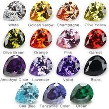 1PCS Per Colors Total 15pcs Size 4x6mm ~ 10x12mm Pear Shape Loose Cubic Zirconia Stone CZ