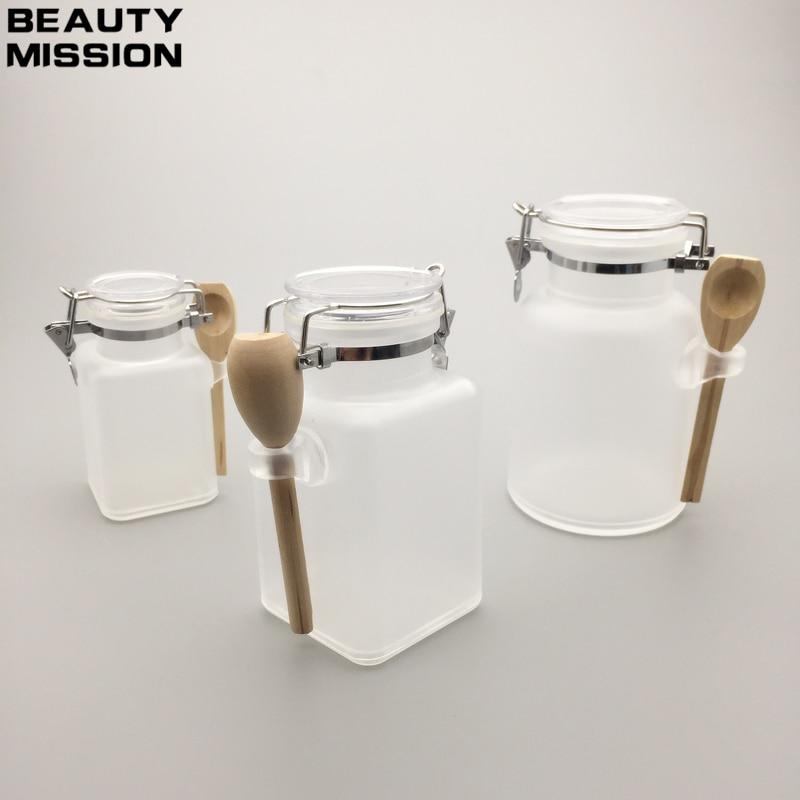 100 ML 200 ML 300 ML ABS badesalz flasche Mit Holzlöffel Frauen Kosmetische Nachfüllbare Glas Leere Kunststoff Gesichts maske Behälter