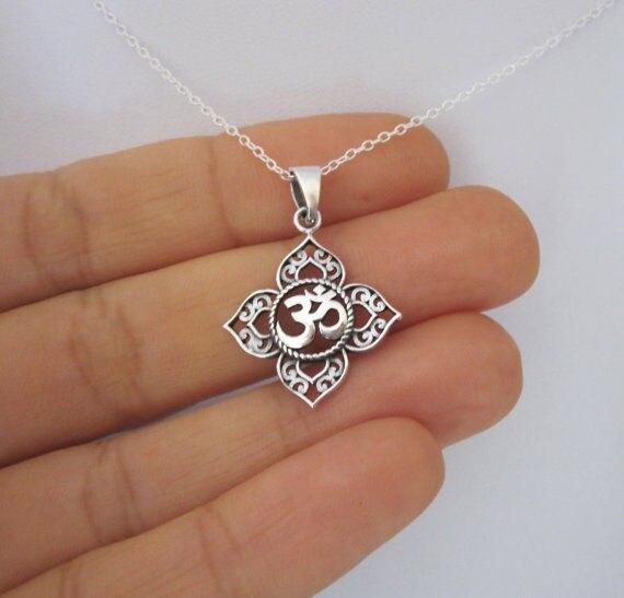 Филигрань Ом АУМ Будда лотоса серебряное ожерелье, буддистское ожерелье для йоги, 1 шт.
