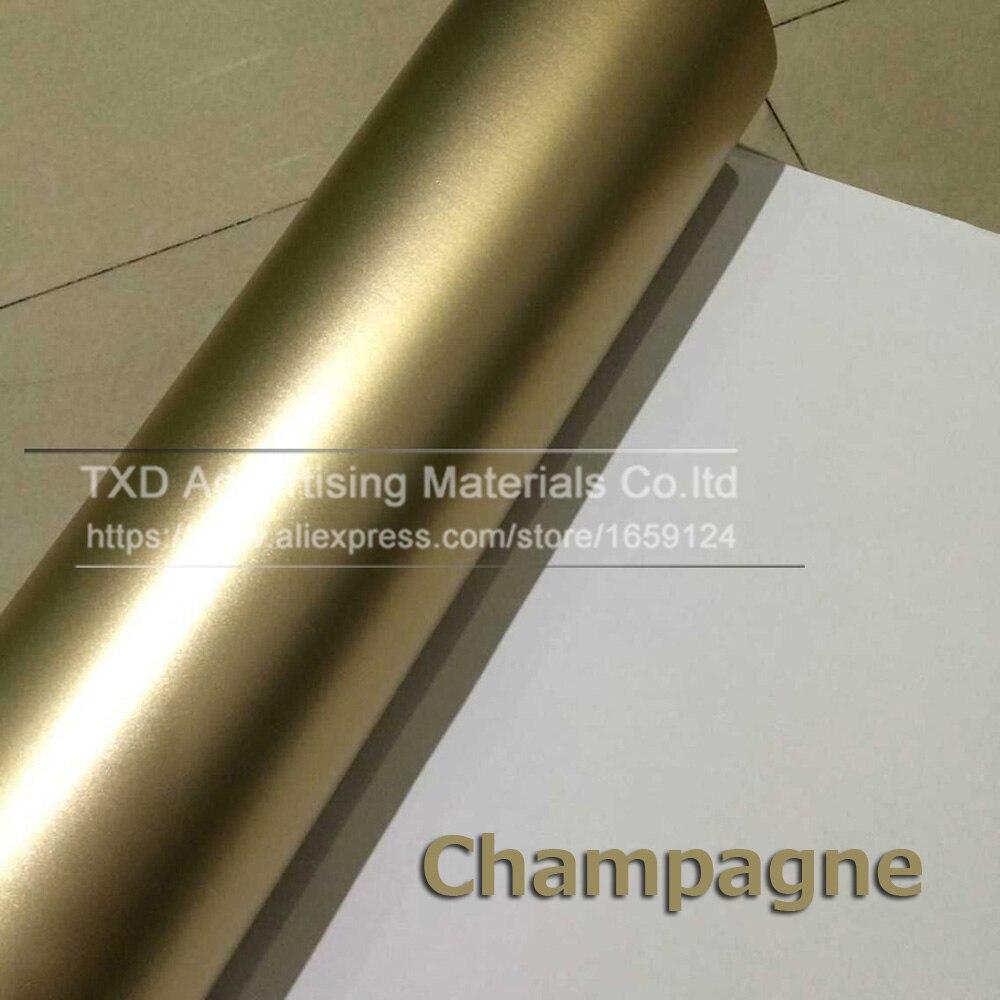 10/20/30/40/50/60x15 2 CM/Lot Champagne Gold Satin mate Chrome película de revestimiento de vinilo para coche pegatina de burbujas Estilo libre del coche por envío gratis