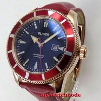 46mm bliger black dial rose golden case red bezel automatic mens wrist watch 115