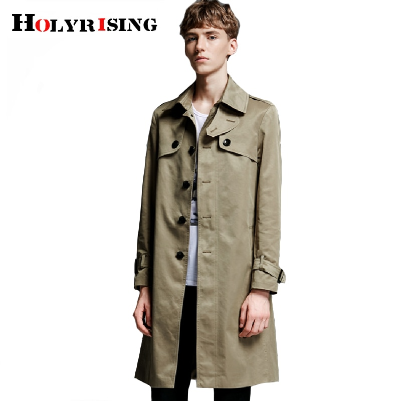 Holyrising hombres trench capa-breasted cortavientos largo primavera nueva S-6XL tamaño de los...