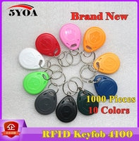 1000Pcs RFID Read Only Key Fob Keyfobs Keychain Ring Token 125Khz Proximity ID Card Chip EM 4100/4102 for Access Control