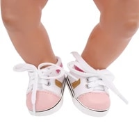 43 cm baby dolls shoes new born pink and white canvas sneakers sport shoe baby toys fit american 18 inch girls doll g156