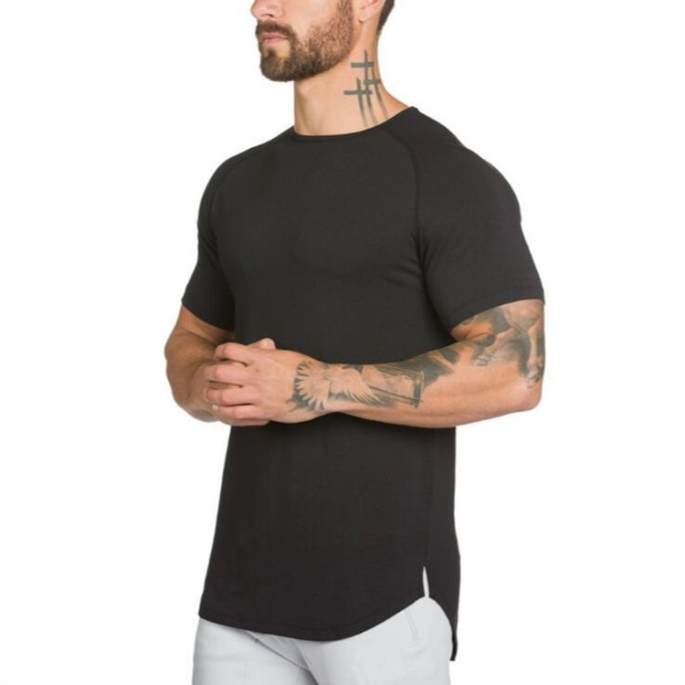 Camiseta larga Muscleguys para hombre, camiseta de Hip Hop para gimnasios, camiseta Extra larga de manga larga para culturismo y Fitness, camiseta