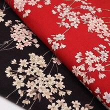 BZ8 tissu en coton pour robe   Nouveau tissu en fleurs de cerisier rouge noir de Style japonais pour robe, tissu Patchwork bricolage pour sac à main Kimono 100*140cm