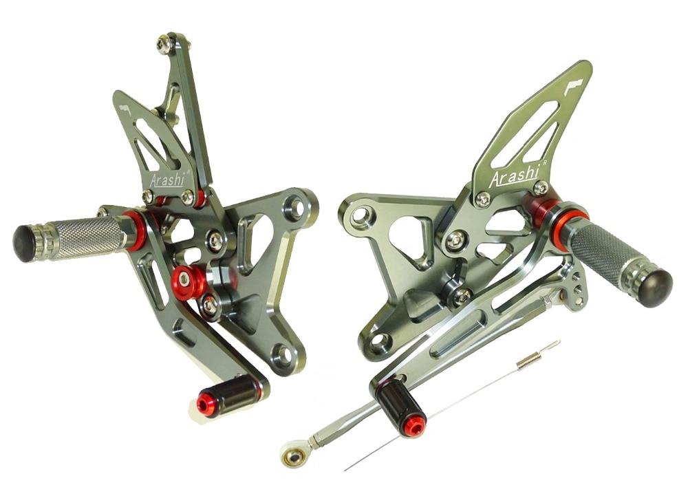 waase CNC Aluminium Adjustable Rider Rear Sets Rearset Footrest Foot Rest Pegs Gray For Kawasaki Ninja ZX-6R ZX 6R 636 2005-2006