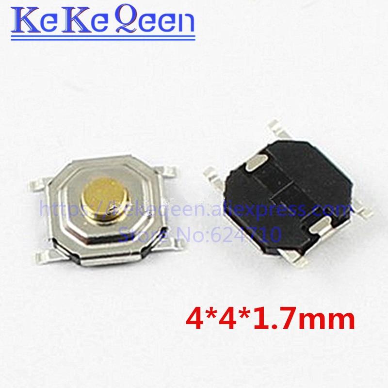 100 шт. 4x4x1,7 мм кнопочный переключатель медь H = 1,7 мм 4*4*1,7 мм 4*4*1,7 мм SMD Микропереключатель тактовый переключатель новый x мм