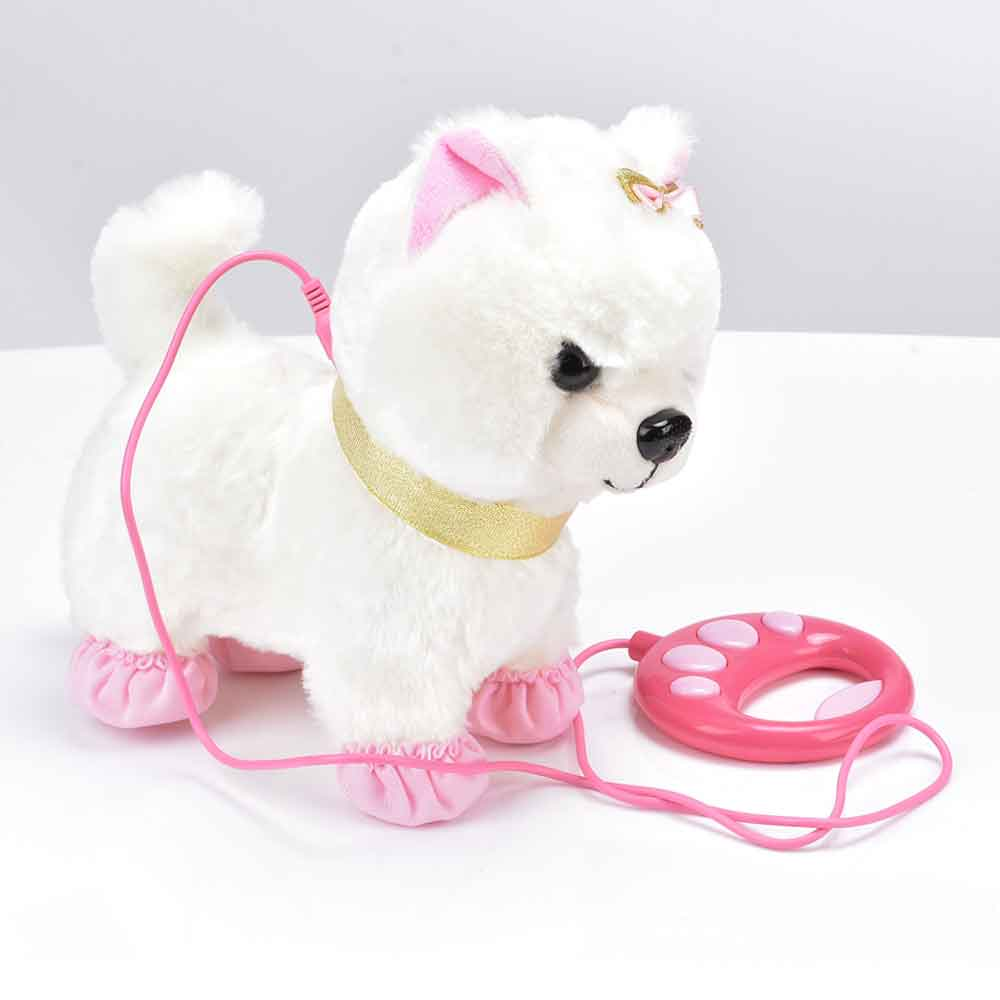 Robot Dog Sound Control Interactive Dog Electronic Plush Pet Toys Walk Bark Leash Teddy Toys For Children Birthday Gifts