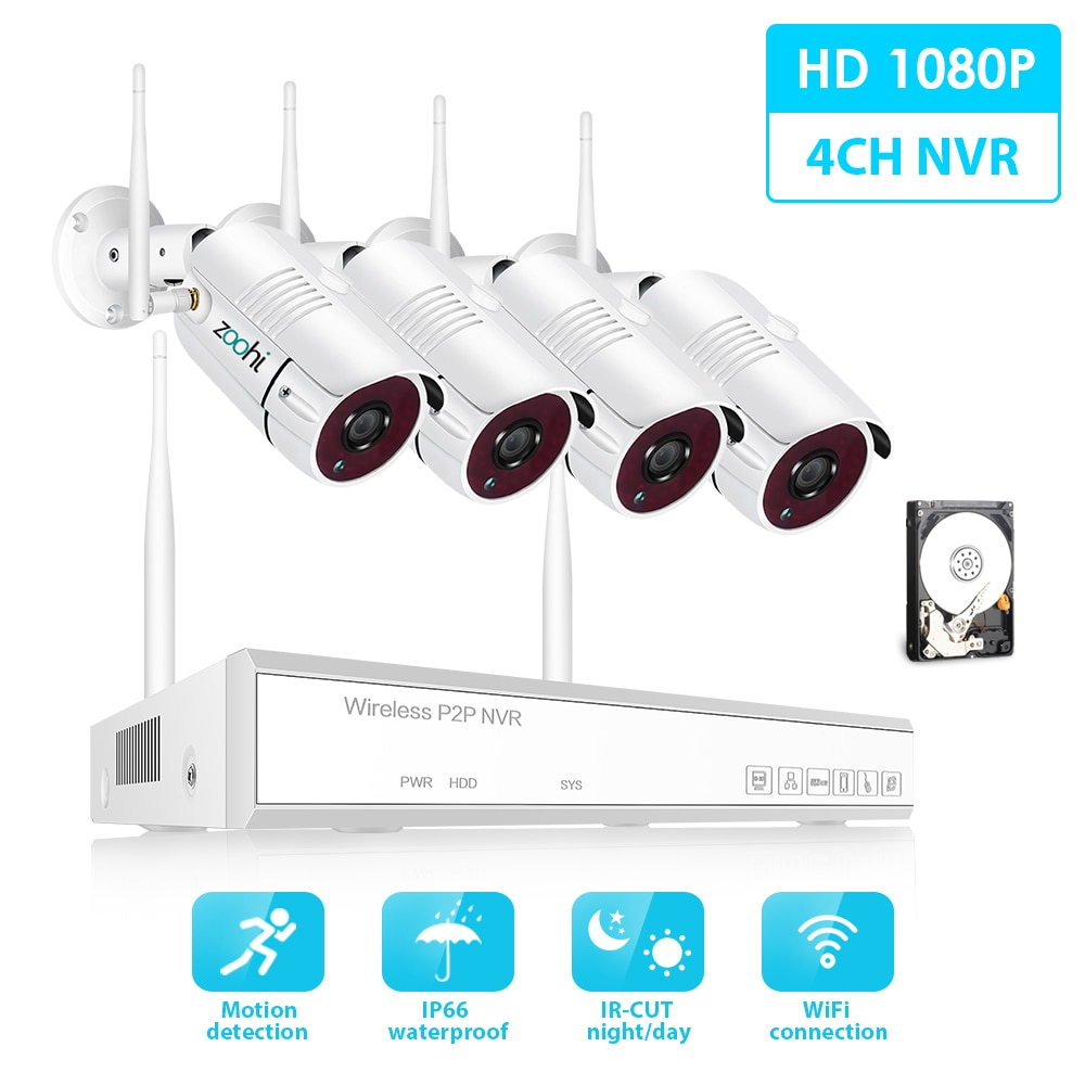 video monitoring camera system room set surveillance video recorder 5in1 dvr 2mp 1080p hd security camera video surveillance kit Zoohi 2MP HD WIFI Camera Home Security Camera Set 1080P Wireless Surveillance System Kit Night Vision Video Surveillance Kit