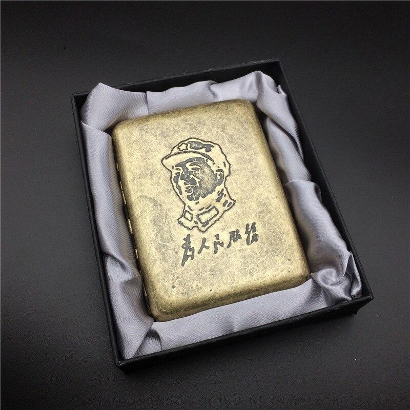 Vintage estilo M R.K 021 antiguo Copper presidente Mao Zedong Metal masculino pitillera estuche cigarrillo cajas para 16 cigarrillos con caja de regalo