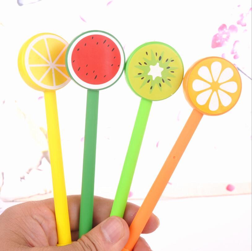 1 pieza de bonito bolígrafo de Gel de papelería Kawaii para la escuela y la Oficina con diseño creativo de limón, naranja, sandía, bonito y encantador