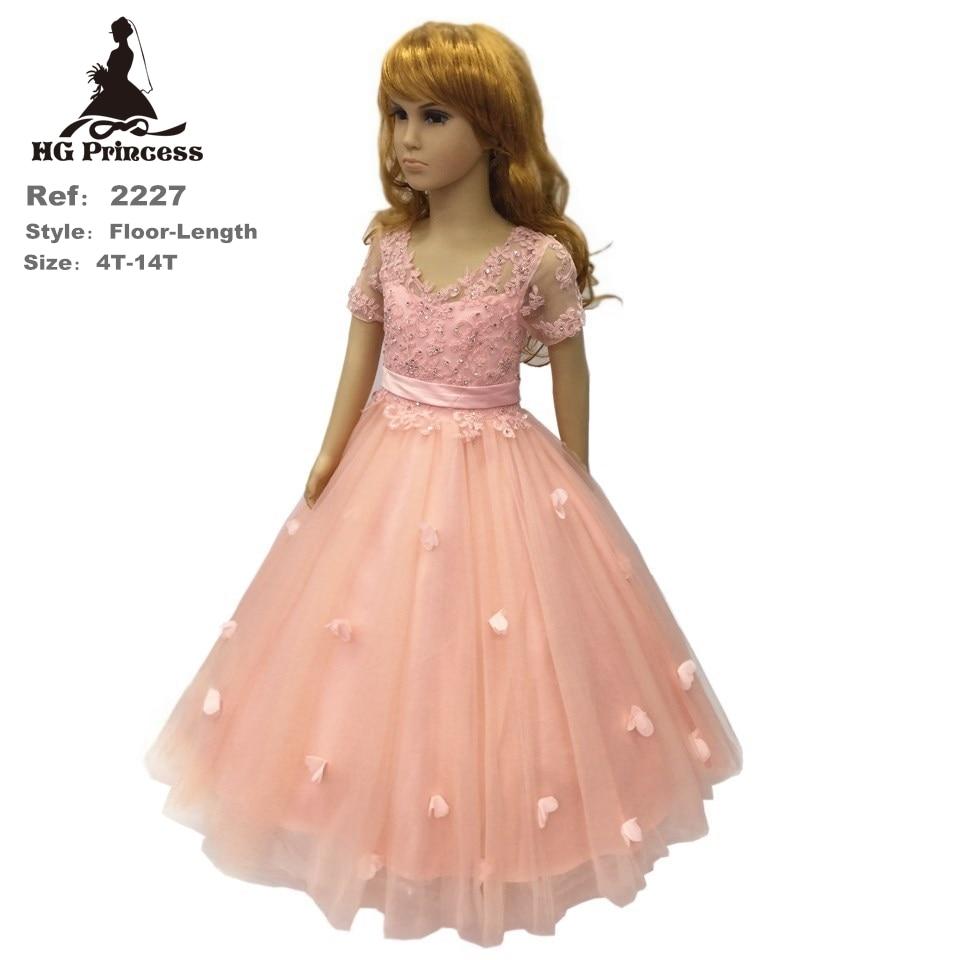 Hot Sales 4T-14T Children Dress 2019 New Arrival Lavender Flower Girl Dresses For Weddings Short Sleeves Party Kids Evening Gown
