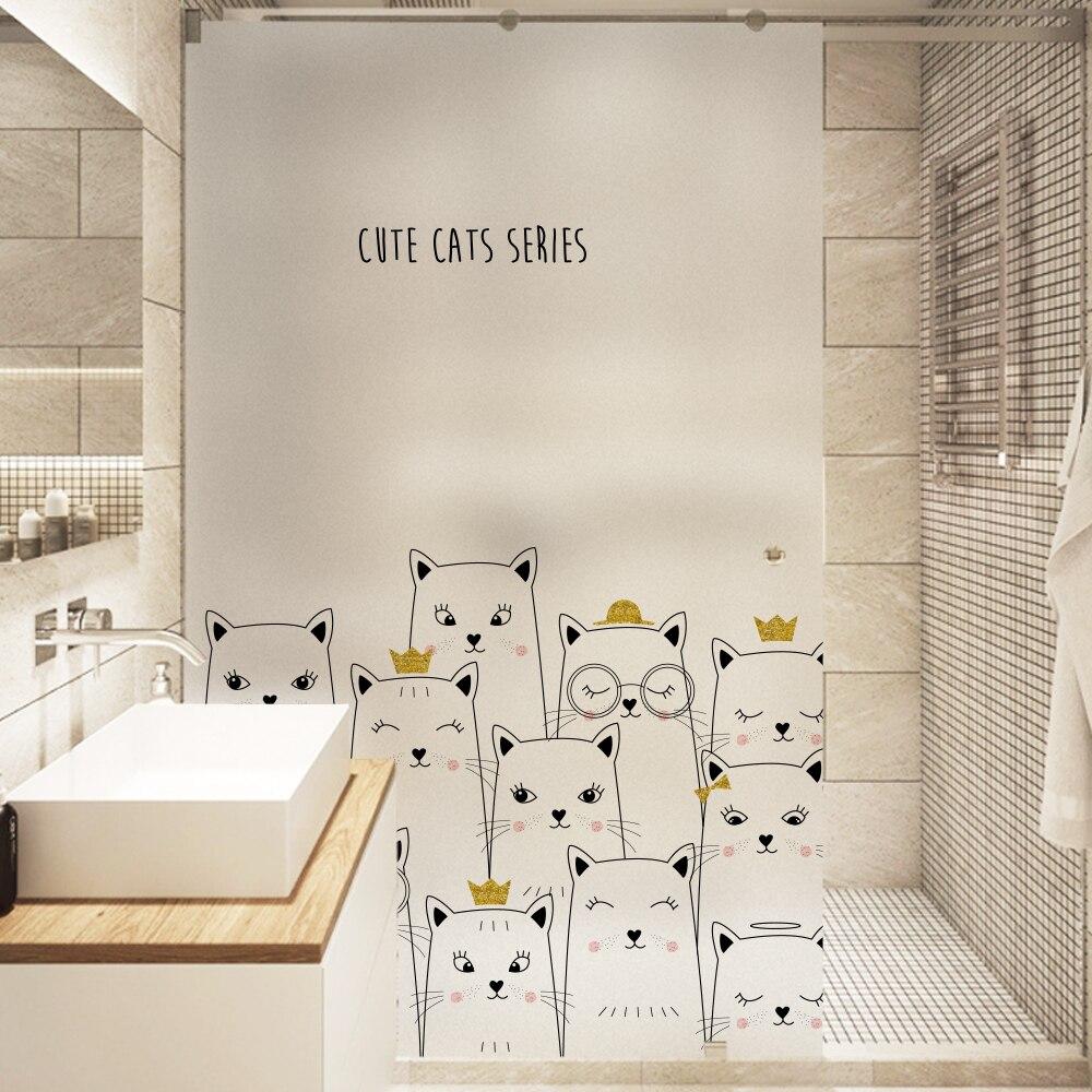 Película vidriada opaca de privacidad pegatina de polietileno decoración de ventanas decoración del hogar dicoration BLT1307 lindo gato
