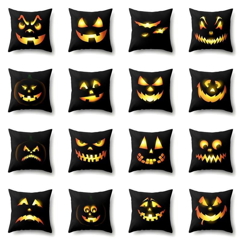 Halloween Pumpkin's Emoticon Cushion Cover Home Decor Black Pillowcases Soft Polyester Living Room Sofa Creative Festival Covers